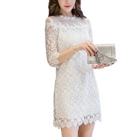 New Women Lace Dress Simple Korean Style Embroidery Hollow Out Party Dresses Mini Sexy Summer Office