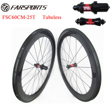Factory price carbon road bike wheels 60mm deep 25mm wide tubeless compatiable 700C full carbon fiber toray from Japan