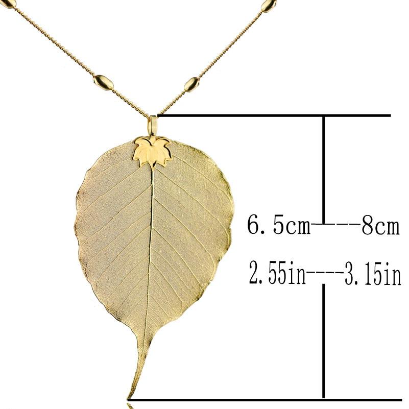 Natürliche Lange Bodhi Blatt Halskette Anhänger Für Frauen Gold ...