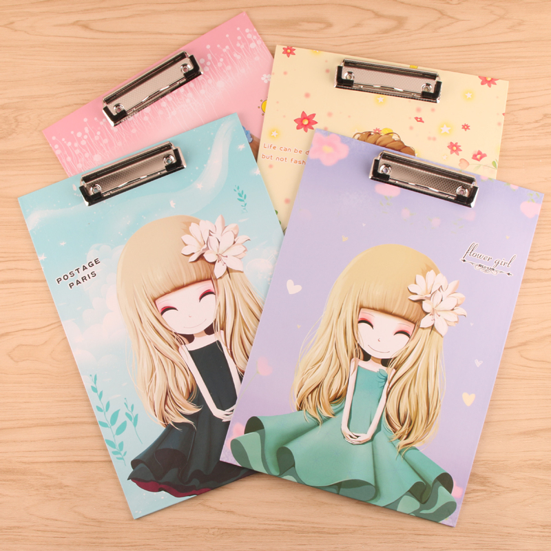 Cute beaty girl series A4 folder board Tablet holder paper writing pad clipboard for gifts office supply/ stationery clip boards creative a4 cute clipboards lovely stationery store clip folder board desk file drawing writing pad school office accessory tool