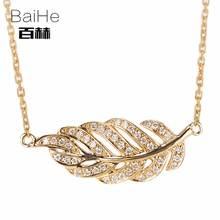 BAIHE Solid 14K Yellow Gold 0.12ct Certified H/SI 100% Genuine Natural Diamonds Women Trendy Fine Jewelry Elegant gift Necklaces