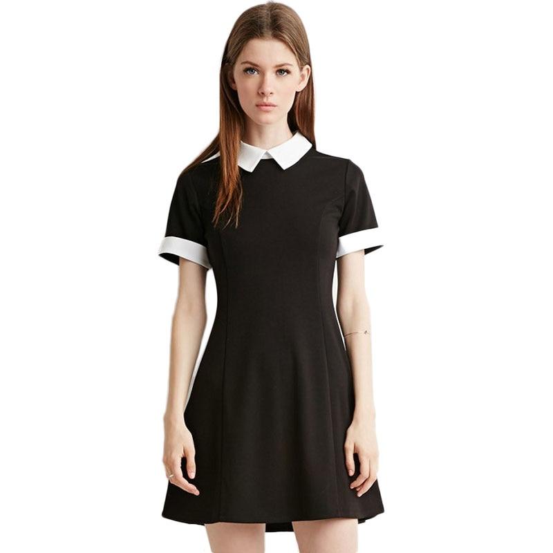 Summer Women Mini Dress New Fashion Preppy Style Slim Short Sleeve Patchwork Knitting Cotton