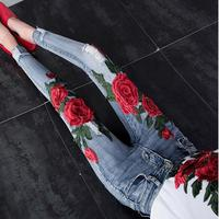 Flower Embroidered Women Jeans Stretch Elastic Jeans Pencil Hole Ripped Rose Pattern Jeans plus size 25 31