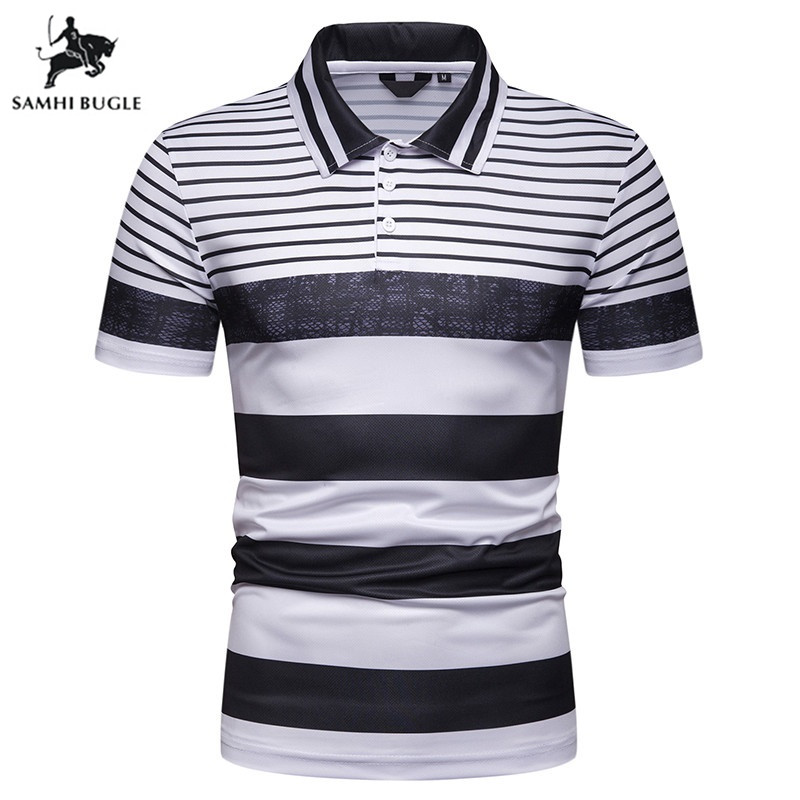 Brand printed Lapel short-sleeved   polo   shirt men 2019 summer Cotton Business Casual fashion men's striped   polos   para hombre
