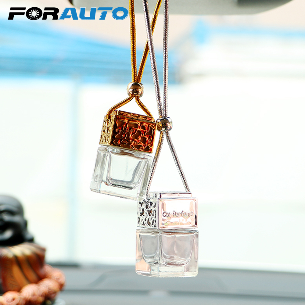 FORAUTO Air Freshener Car Hanging Perfume Empty Glass Bottle For Essential Oils Diffuser Fragrance Car-styling Auto Ornament