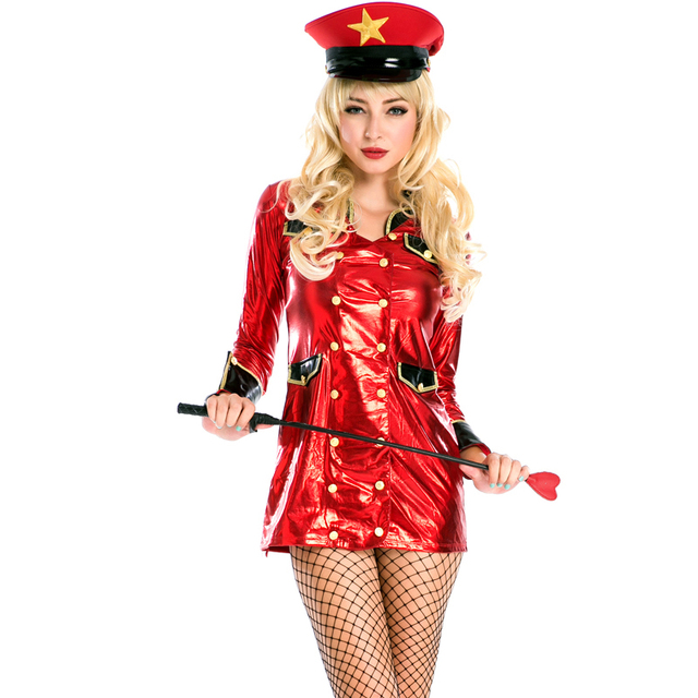Sexy Halloween Police Mini Dress Red Front Buckle Beautiful Police Cop  Costume Cosplay Imitation Leather For Women A158727