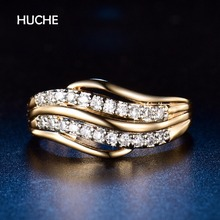 HUCHE Luxurious Rings For Women Pave With Double Layers Cubic Zircon For Wedding Gift Gold With Silver Color Jewelry HYJR592