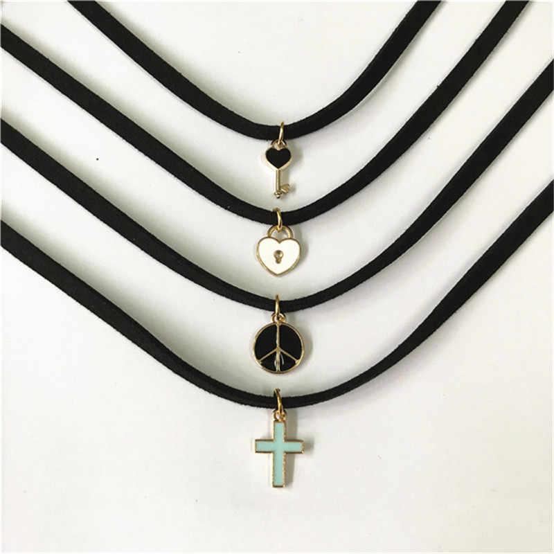 Новый стиль Bijoux Винтаж Любовь крест кулон с полумесяцем Геометрическая Татуировка ключица, ошейник для женщин девочек Ювелирные изделия Подарки