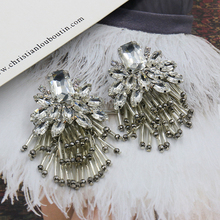 Высочайшее Качество Большой Геометрическая Кристалл Snowflower Кисточкой Серьги Заявление Серьги Для Женщин Bijoux Свадьба Ювелирные Изделия