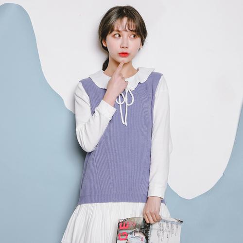 2016 Otoño Invierno Corea Preppy Casual O Cuello de Punto Chaleco Del Suéter de Punto Pullover Color Sólido sweter mujer T112