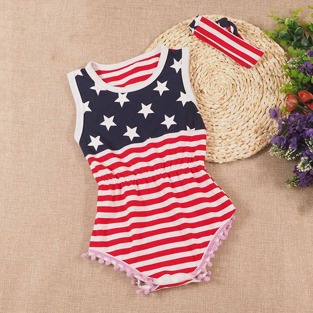 Children Kids Girl Striped Jumpsuit Jumper Bodysuit Sleeveless Round Neck Summer Clothing AN88