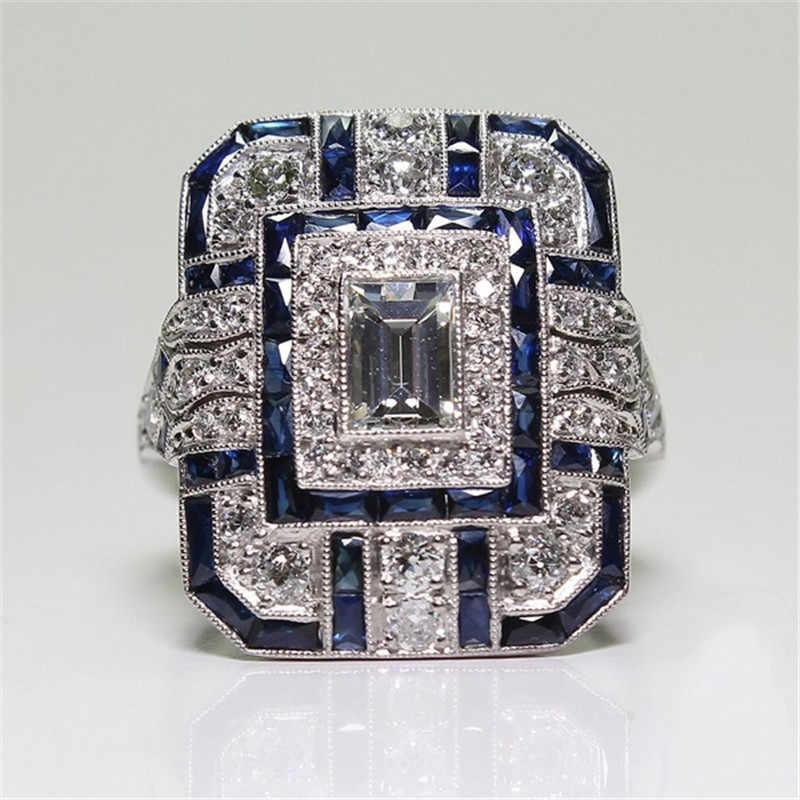 YWOSPX Prata Grandes Anéis Quadrados para Mulheres Jóias de Luxo Declaração de Cristal de Zircão Anel de Casamento Engagement Anillos Anel Presentes Y35