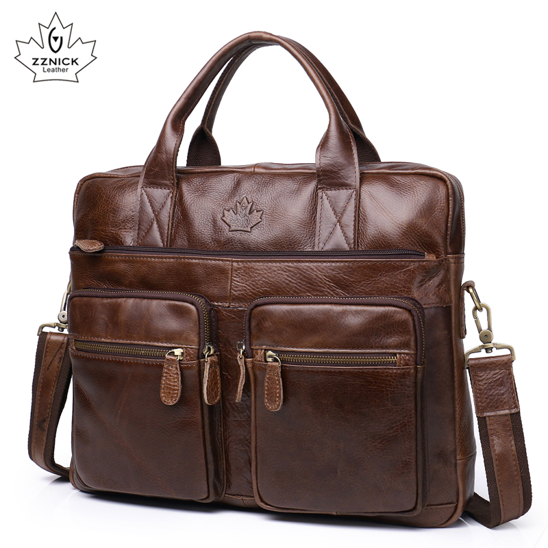 Men's Briefcase Tote Genuine Leather Men Messenger Bags Travel Laptop Bag Business Leather Shoulder Laptop Bag Men Bag ZZNICK