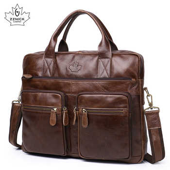 Men\'s Briefcase Tote Genuine leather men messenger bags travel laptop bag business Leather shoulder laptop bag men bag ZZNICK - DISCOUNT ITEM  53 OFF Luggage & Bags