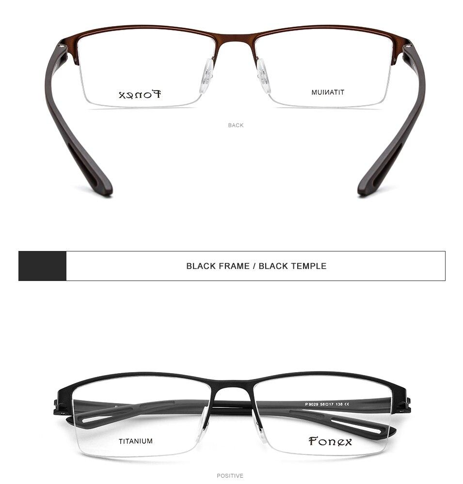 dc2c2122b82 TR90 Glasses Frame Men Semi Rimless Square Myopia Titanium Optical ...