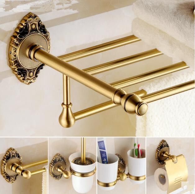 Brass Bathroom Accessories Set, Antique Bronze Paper Holder,Towel Bar,Toilet Brush holder ,Towel Holder bathroom Hardware set free shipping solid brass bathroom accessories set paper holder toilet brush holder bathroom sets antique brassyt 12200 2
