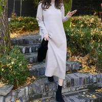 Fall Winter Women Long Sweater Knitted Inside Wear Dress Turtleneck Pullover Straight Bodycon Pull Robe Femme Vestidos Jurken