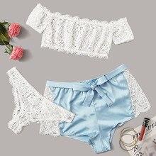 Sweet Cute Girls Lingerie Lace Hollow Out Sexy Sleepwear Underwear Tops+Short+Briefs Set Sl