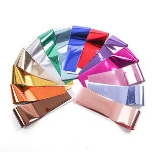 Image 5 - 50pc Holographische Nagel Folie Bunte Mix Design Laser Starry Papier Transfer Aufkleber Sliders Für Nail art Dekoration Decals JI921