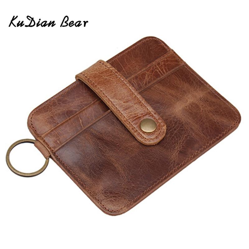 save off 3619f 5e395 US $4.99 49% OFF|KUDIAN BEAR Brand Leather Card Holder Rfid Credit Card  Holder Vintage Designer Travel Card Wallets for Documents BIH030 PM49-in  Card ...