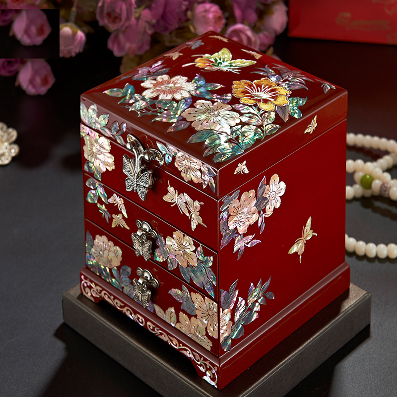 Hand Made Abalone Shell linlaid Jewelry Box Storage Lacquerware