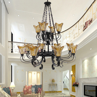European Style Chandelier Country Villa Living Room Duplex Floor Two Layers Of Retro Iron Double