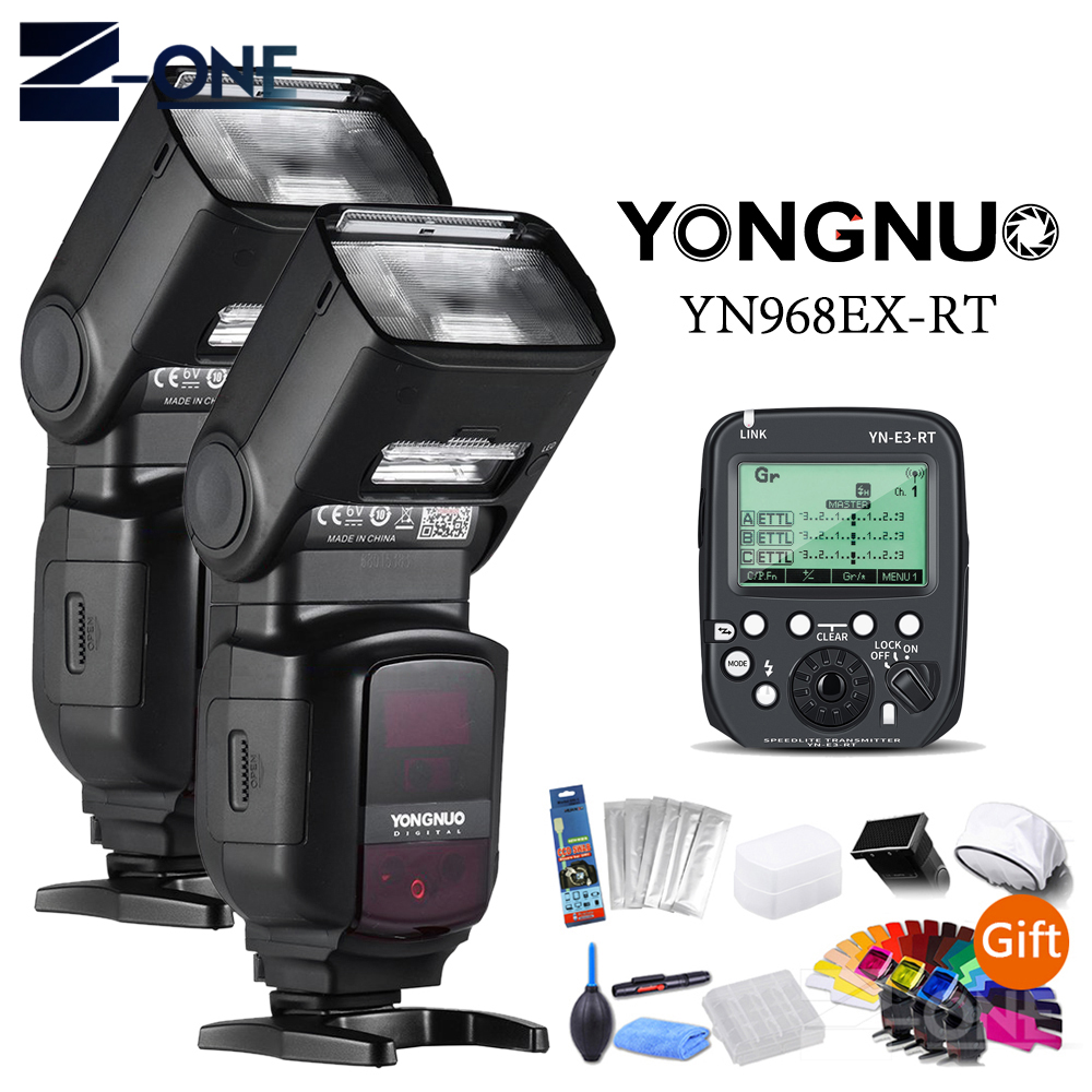 YONGNUO 2*YN968EX-RT LED Wireless Flash Speedlite Master TTL HSS + YN-E3-RT Flash Speedlite Transmitter For Canon Digital Camera yongnuo yn968ex rt e ttl wireless flash speedlite yn e3 rt for canon rebel t7i t6i t6s t6 t5 t5i t4i t3i t3 80d 77d 70d 60da