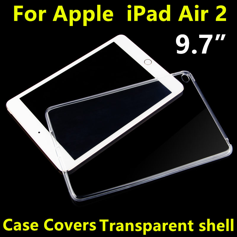 Case TPU For Apple iPad Air 2 Protective Smart cover Protector Leather For iPad Air2 PU Tablet 9.7 Transparent shell Sleeve 6 tpu case cover for ipad air