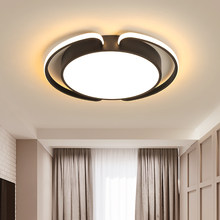 Black and white round modern LED chandelier living room bedroom dining room corridor lamp chandelier dimming home lighting(China)