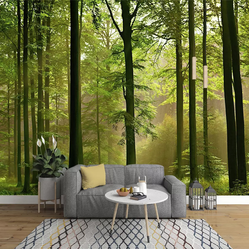 Custom 3D Murals Sunshine Forest Green Landscape Original Forest Photo Wallpaper Living Room Background 3D Wall Cloth Home Decor