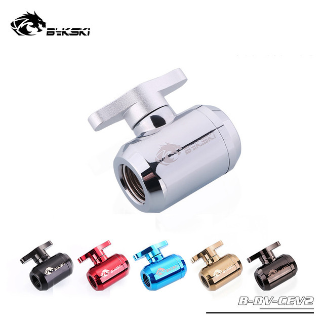 Bykski Water Valves Hand-Tighten Drain Valves Switch Valves Aluminum Handle For Hard Tubing B-DV-CEV2