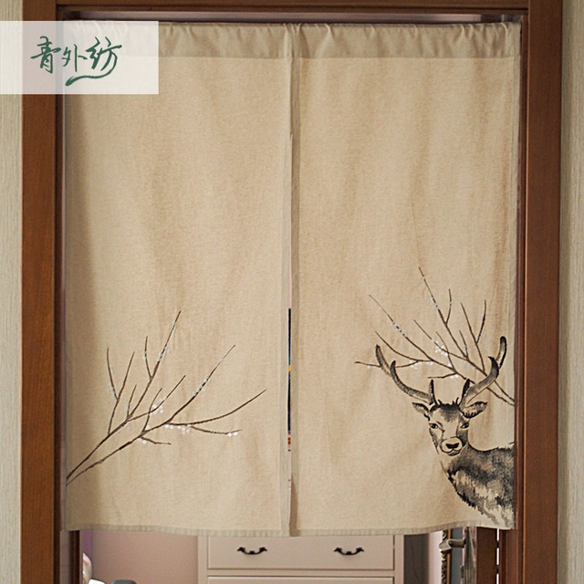 Nice Curtains American Past Embroidery Sika Deer Cloth Curtain Door The Bedroom Half Parion