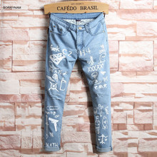 Sorrynam 2017 Top Hot Sale For Graffiti Personalized Printing Elastic Wear Pants Hip Hop Essential Tide Male Nine Points Jeans