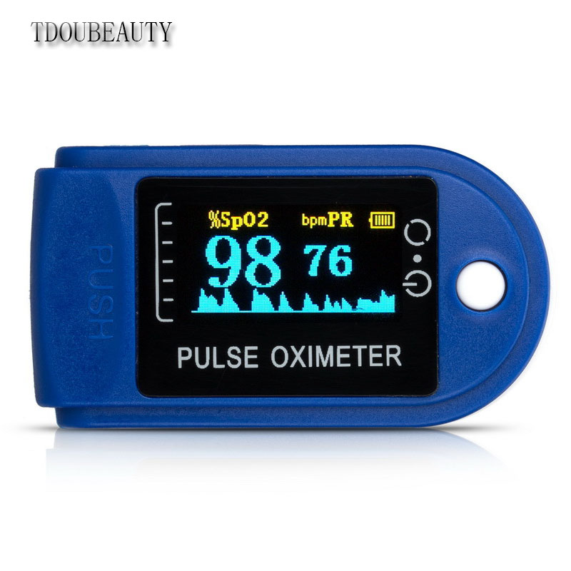 TDOUBEAUTY 1 Pieces Finger Blood Oxygen Ceremony/Blood Oxygen Saturation Meter/Pulse Oximeter With Alarm CMS-50D (Three Colors)
