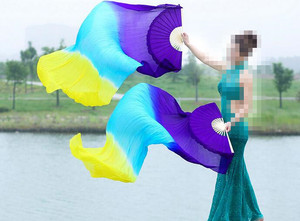 Image 5 - New Children Women 1 Pair 100% Silk Long Belly Dance Fan Veils Elegant Gradient Color Cheap Promotion 120cm 150cm 180cm