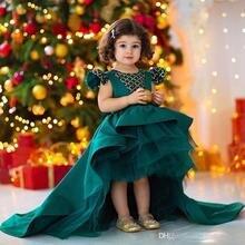 цена 2019 Dark Hunter Green Hi Lo Girls Pageant Dresse With Beaded Crystal Ruffle Satin Princess Girls Birthday Party Gownslx онлайн в 2017 году
