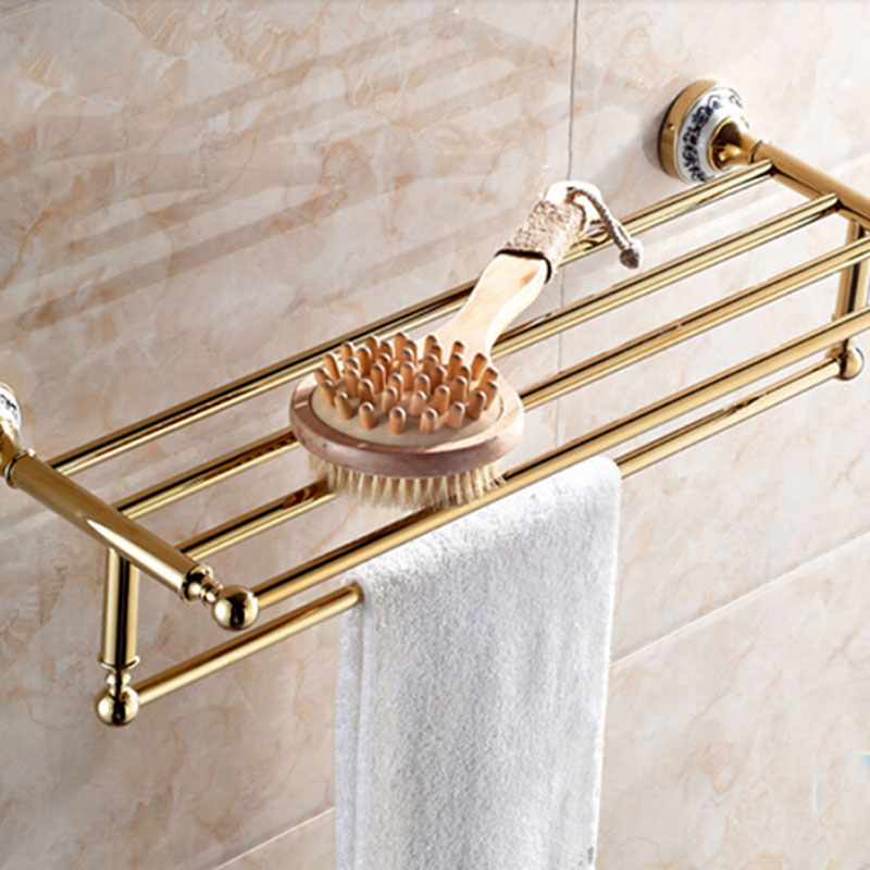 Wholesale And Retail Luxury Golden Brass Bathroom Towel Rack Holder Bathroom Towel Shelf Ceramic Base Style W/ Towel Bar whole brass blackend antique ceramic bath towel rack bathroom towel shelf bathroom towel holder antique black double towel shelf