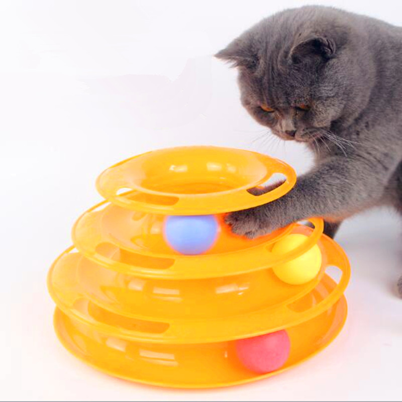 Three Levels Tower Tracks Disc Cat Pet Toy Intelligence Amusement Rides Shelf dog cat to ...