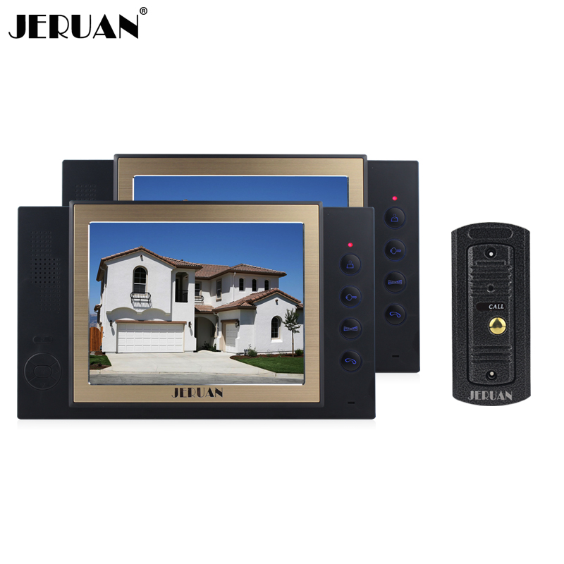JERUAN 8 inch screen video door phone IR camera with video recording and taking photo 1 Camera 2 monitors system jeruan 8 inch video door phone high definition mini camera metal panel with video recording and photo storage function