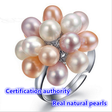 2017 Fashion Pearl Jewelry Water Drop Natural Freshwater Pearl Flower Wedding Ring 100% natural Pearl ring For Women