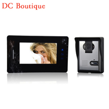 ( 1 Unidades ) HD 600TVL alambre uno-a-uno de Video teléfono de la puerta versión de la noche CMOS lente 7 pulgadas TFT-LCD pantalla color de RFID card desbloqueo