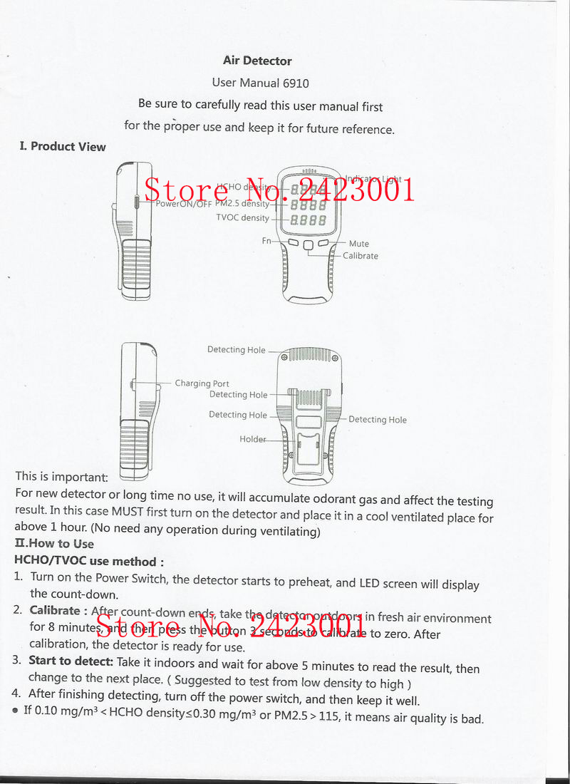 6 viename WP6910 PM1.0 PM2.5 PM10 matuoklis HCHO matuoklio oro - Matavimo prietaisai - Nuotrauka 4