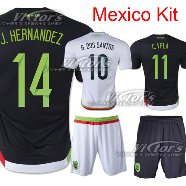 a13acaed2e3 Mexico Jersey 2015 Soccer Black White Home Away 2016 National Team Mexico  Camisetas Futbol Football Shirt HERNANDEZ CHICHARITO