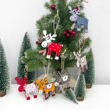 Dropship Christmas tree wood painted elk pendant 1 pc Xmas Party Decor Deer Pendants