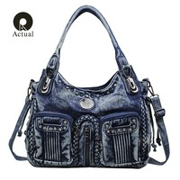 Actual Fashion Women Bag Denim Handbag Large Capacity Blue Shoulder Bag Weave Women Messenger Bags Diamonds Knitting