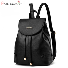 FGJLLOGJGSO New Fashion Women Backpack High Quality PU Leather School Bags For Teenagers Girls Solid Top-handle Travel Backpacks