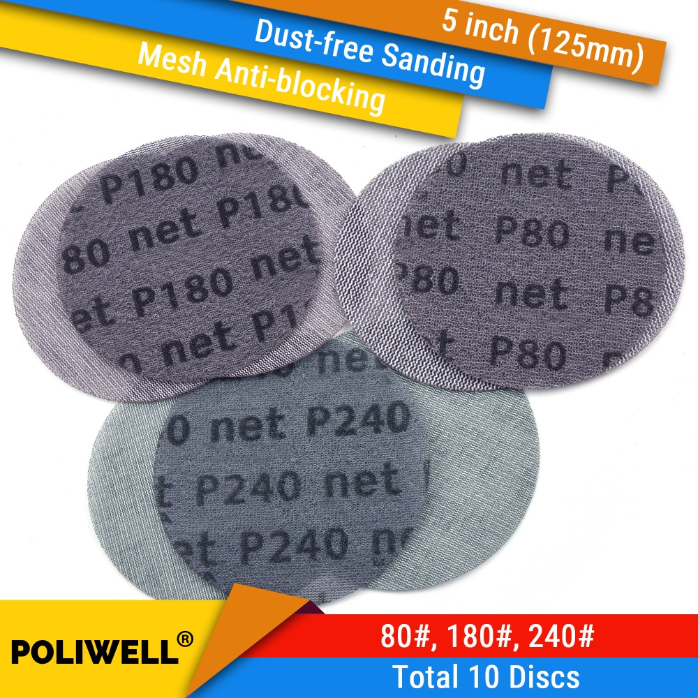 10PCS 5 Inch 125mm Mesh Dust-free Anti-blocking Hook&Loop Sanding Discs Round Abrasive Sandpaper 80#180#240# Car Decorate Paper