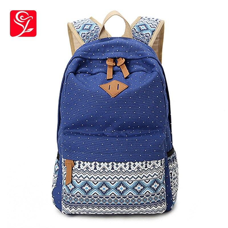 2019 Vintage fille sacs d'école pour adolescents mignon Dot impression toile femmes sac à dos Mochila Feminina sac casual école sac à dos