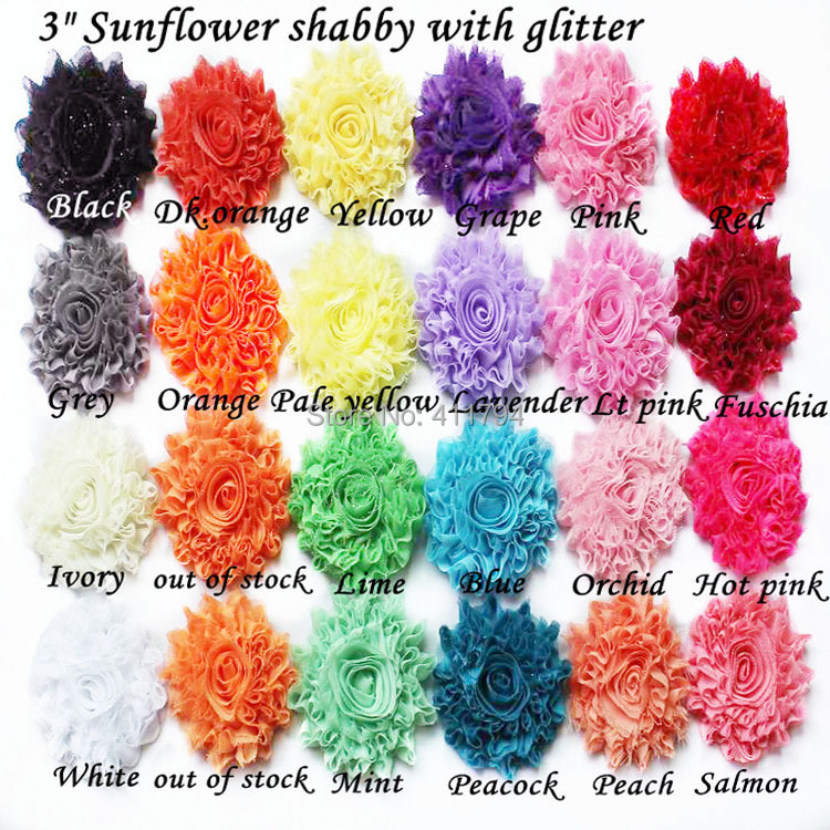 32 yards lot 3 glitter chiffon shabby flower shabby flowers apparel hair accessories headwear 22 colors