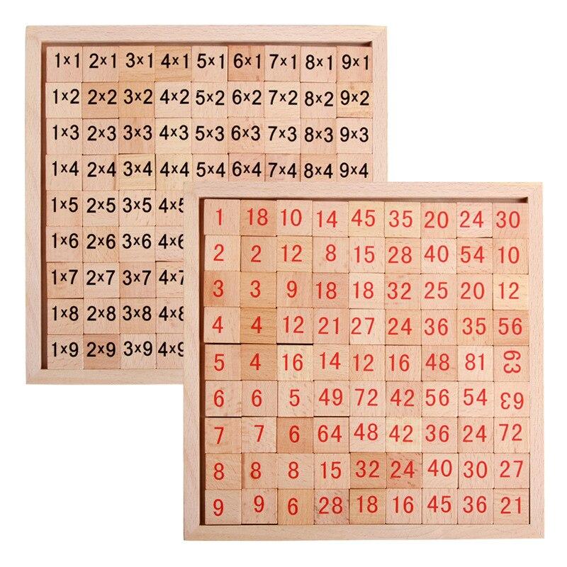 BOHS Double Sides Multiplication Table Domino Block Kindergarten Mathematics Intelligence Wooden Education Toy, 1 Piece